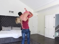 Blonde beauty Bella Rose gives horny hunk an amazing blowjob