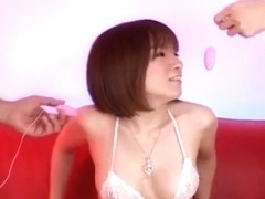 Ryo Tsujimoto gets vibrators on and in hairy crack from dudes