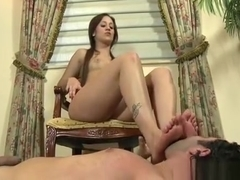 Sweetheart Shoves Foot In Face And Grinds Dick With Feet
