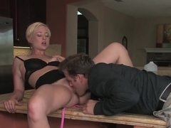Hairy babe Nora Sky gets cum on her bush