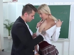 Sensual college girl gets seduced and nailed by her older instructor