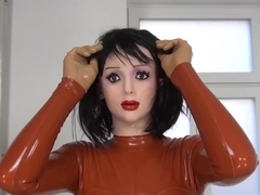 FEMALE MASK RUBBER DOLL TRANSFORMATION, FINGERING AND FAKE PENIS
