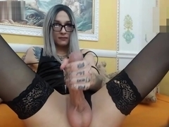 Silver Haired Tranny in glasses Cumming For Her Fans