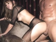 Slutty chick in erotic, black lingerie, Riley Reid needs a good fuck and an intense orgasm