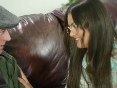 Allie Haze in Cute Nerdy Allie Haze Gets Pounded On The Couch