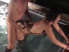 Milf Fucks Best Friend In The Pool Husband Watches