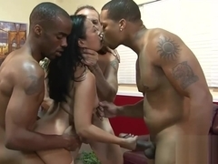 Intense gangbang action with an Asian whore