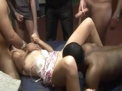 British amateur gangbang party in a swingers club