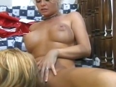 Aged dark brown with fine meatballs receives her cum-hole licked by blond angel