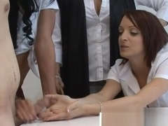 Cfnm schoolgirls in detention give handjob
