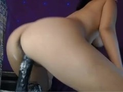 Webcam slut oozes cum-lube from fucking dildo