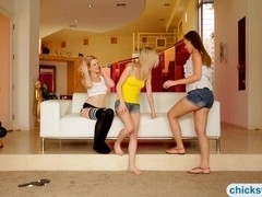 Three sexy teens intimate pussy licking on the couch