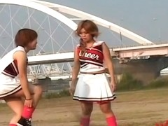 This is how cheerleaders exercise in nature upskirt video