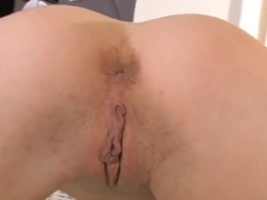 Krystal Love fingers her shaved vagina all day long
