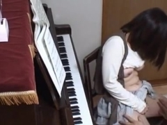 Piano teacher rear fucks his pupil across the piano keys