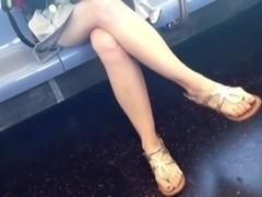 Candid crossed legs and feet