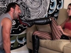 Abusive girlfriend in high heels torments her boy