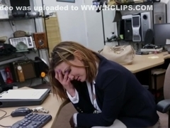 Busty office babe pawns pussy for cash