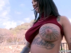 Juicy ass tattoo girl squirts and anal fucking