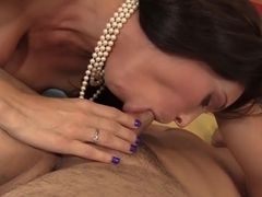 Busty step mom in black stockings and her handsome step son are fucking for the first time
