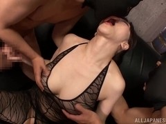 Alluring Asian milf Anri Okita enjoys a hardcore threesome