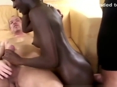 Black chick banged by two guys