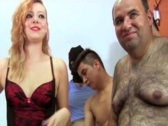 Wet blonde sucks dicks for bukkake in orgy