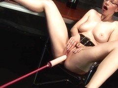 Redhead Secretary Is Getting Pounded By Fucking Machine With Annika Bond
