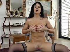 Sexy brunette shows the mature solo pleasure with Julia Dranac