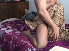 Footjob sex in fishnet bodystocking by real life submissive