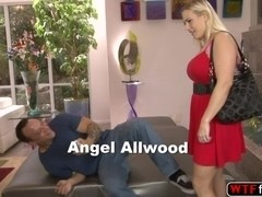 Hot horny stepmom Angel catches young dude taking pictures of her ass