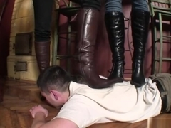 Two mistress trampling and boots worship