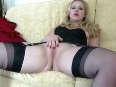 Blonde Aston Wilde strip tease in vintage lingerie heels black nylons slips down sheer panties wan.