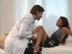 Kaylani Lei gives no sign of fatigue during intensive doctor's inspection