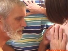 Lactating TEEN feeds her STEP-DADDY