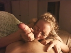 Bed time blowjob on a pierced cock (POV) New glasses!!