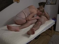 Fucking massage therapist - and accidentally cums inside her