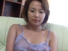 Rio Kurusu puts vibrator on her hairy crack under lace lingerie