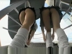 2 Asian Schoolgirls Upskirt Peek