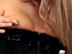 Cute blondie Whitney Conroy plays with twat