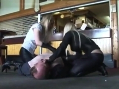 British doms use a slave. Kick and trample in boots. Hot