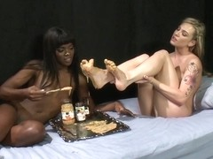Peanut Butter and Jelly Toe Sandwiches Lesbian Foot Sploshing