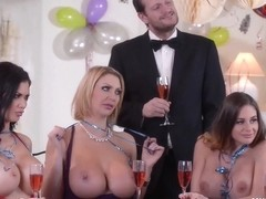HAPPY NEW YEAR ORGY /SEX PARTY (THREE MATURE MILF PLAYING POKER)