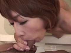 Naughty slut loves sucking her man's cock in the bathtub