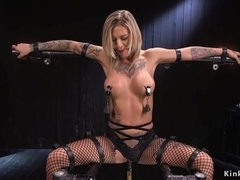 Busty blonde toyed in diferent bondages