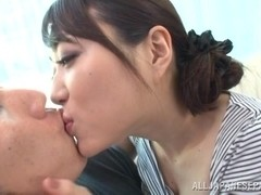 Akari Hoshino Asian model gives hot blowjob