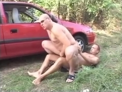 Friends fuck in the woods