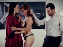Naive redhead double penetrated by bisex wife and hubby