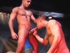 Military guys fuck outdoors