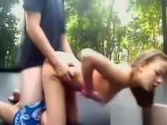 Creampied On The Trampoline Outdoors